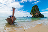 Shore of Thailand, view of the beautiful sea and boat