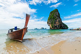 Sunny day, seascape coast of Thailand resort and traditional boa
