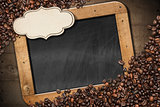 Blackboard with Coffee Beans and Label