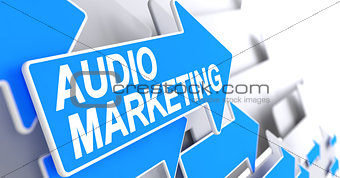 Audio Marketing - Message on Blue Arrow. 3D.
