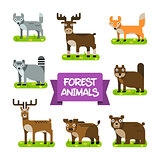 Forest Animals Set. Illustration in Flat Design.