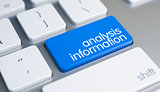 Analysis Information - Caption on the Blue Keyboard Button. 3D.