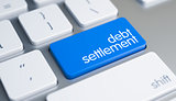 Debt Settlement - Caption on the Blue Keyboard Button. 3D.