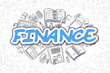 Finance - Cartoon Blue Word. Business Concept.