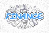 Finance - Cartoon Blue Word. Business Concept.