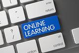 Blue Online Learning Key on Keyboard. 3D.