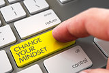 Change Your Mindset - Keyboard Key Concept. 3D.