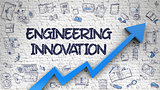 Engineering Innovation Drawn on White Wall. 3D.