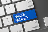 Make Money CloseUp of Keyboard. 3D.
