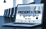 Presentation on Laptop in Conference Hall. 3D.