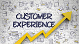 Customer Experience Drawn on White Brickwall. 3D.