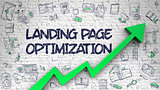 Landing Page Optimization Drawn on White Brick Wall. 3D.
