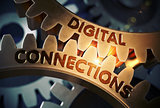 Digital Connections on Golden Cog Gears. 3D Illustration.