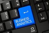 Blue Business Analytics Key on Keyboard. 3D.