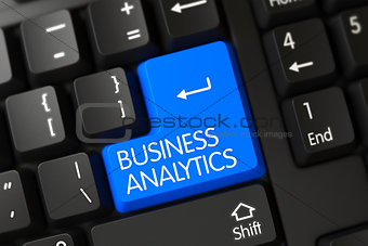 Blue Business Analytics Key on Keyboard. 3D.