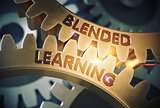 Blended Learning Concept. Golden Gears. 3D Illustration.