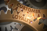 Customer Loyalty Concept. Golden Gears. 3D Illustration.
