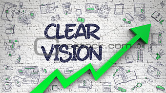 Clear Vision Drawn on White Brickwall. 3D.