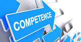 Competence - Inscription on Blue Pointer. 3D.