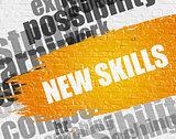 New Skills on White Brickwall.