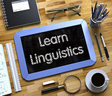 Small Chalkboard with Learn Linguistics Concept. 3D.