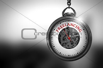 Freelancing on Pocket Watch. 3D Illustration.