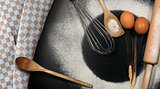 Baking Background with Flour and Utensils