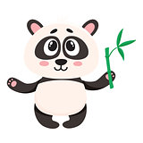 Cute smiling baby panda character holding bamboo branch in paw
