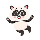 Cute and funny smiling baby panda character jumping from happiness