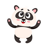 Cute and funny smiling baby panda character looking up