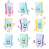 Funny cartoon mobile phone, smartphone character set with human faces