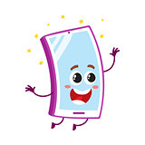 Funny cartoon mobile phone, smartphone character jumping from happiness