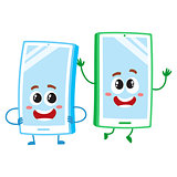 Cartoon mobile phone characters, one arms akimbo, another jumping happily