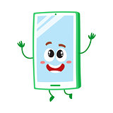 Funny cartoon mobile phone, smartphone character raising hands in awe
