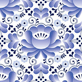 Russian seamless folk pattern, traditional design with flower - Gzhel pottery style