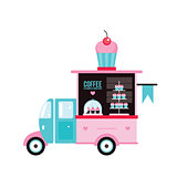 Food truck Fast food Cafe Delicious sweet desserts Cute cupcake