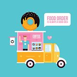 Food truck Cafe Delicious sweet donuts Fast food banner