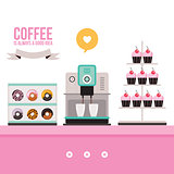 Delicious sweet desserts Donuts Cupcakes Coffee machine on pink table
