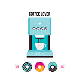 Coffee machine and Colorful delicious donuts isolated on white background