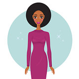 Stylish young African American woman wearing trendy dress looking gorgeous