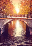 Bridge over channel in Amsterdam Netherlands autumn