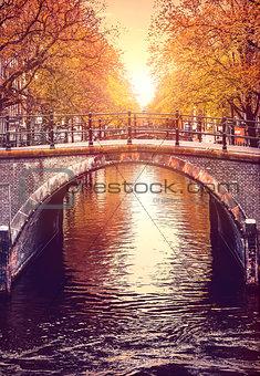 Bridge over channel in Amsterdam Netherlands autumn