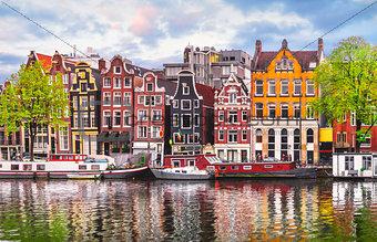 Amsterdam Netherlands dancing houses over river Amstel