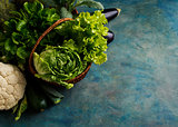 Fresh green lettuce, cabbage and vegetables in a basket