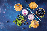 Homemade muffins with blueberries and yogurt with mint.
