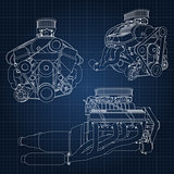 A set of several types of powerful car engine. The engine is drawn with white lines on a dark blue sheet in a cage