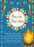 Festa Junina greeting card, invitation, poster. Brazilian Latin American festival template for your design.Vector illustration.