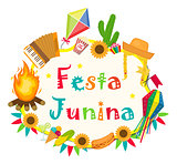 Festa Junina frame with space for text. Brazilian Latin American festival blank template for your design, isolated on white background. Vector illustration.