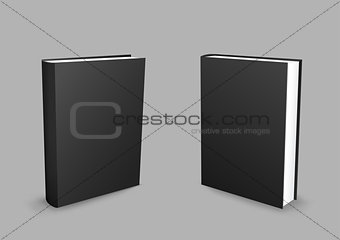 Black closed books gray background