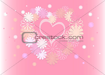 Bright background of colored flowers in the form of a heart.
